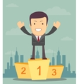 Man winner standing in first place on a podium vector image