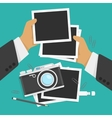 Photos and camera in flat style vector image