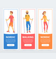 set of banners with people nordic walking health vector image
