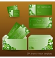 set template with green exotic leaves vector image