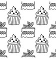 black and white seamless pattern with cakes for vector image