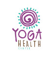 yoga health center logo colorful hand drawn vector image
