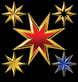 gold eight-pointed stars vector image