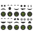 Tool gear smile emotion icons vector image