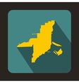Florida yellow map icon flat style vector image