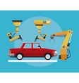 car assembly industrial robotic production line vector image