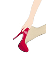 Girl in fishnet stockings and red shoes vector image