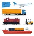 icons set freight transportation logistics vector image