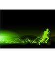 Runner as rays green vector image