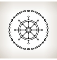 Silhouette ships wheel and chain vector image
