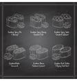 Types of Gunkan Sushi on a blackboard vector image