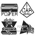 Vintage electric car emblems vector image