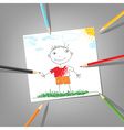 child drawing vector image vector image