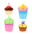 set of four icons in cartoon style delicious vector image