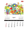 Floral calendar 2014 april vector image