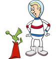 astronaut with alien cartoon vector image vector image