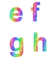 Rainbow sketch font set - lowercase letters e f g vector image