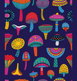 abstract mushrooms seamless pattern in vector image