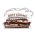 beautiful festive cake with a candles vector image