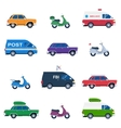 Collection of different cars like ambulance and vector image