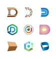 Letter D logo set Color icon templates design vector image