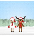 Reindeer and Christmas lamb vector image