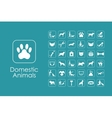 Set of domestic animals simple icons vector image