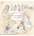 World landmark stickers vector image