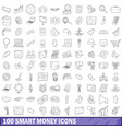 100 smart money icons set outline style vector image