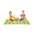 Couple On Picnic With Football Ball vector image