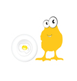 chicken and egg in yellow vector image