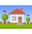 Fruit garden with house vector image