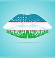 uzbekistan flag lipstick on the lips isolated on a vector image