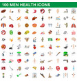 100 men health icons set cartoon style vector image