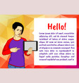 girl with tablet vector image