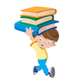 laughing boy with books vector image vector image