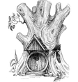 Small house in tree hollow sketch vector image