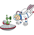 spaceman with alien cartoon vector image vector image