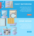 fancy bathroom poster set in flat style vector image