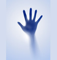 open hand in the blue mist of designer vector image