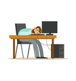 tired businessman sleeping at workplace on laptop vector image