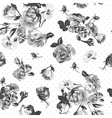 Vintage monochrome roses pattern vector image