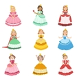 Little Girls Dressed As Fairy Tale Princesses vector image vector image
