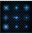 Shine blue stars glitters sparkles vector image