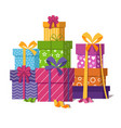 wrapped gift boxes pile isolated on white vector image vector image