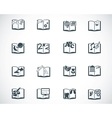 black schoolbooks icon set vector image
