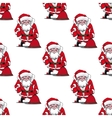 Seamless pattern with cartoon Santa Claus vector image