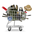 Trolley with Fish tackle vector image vector image