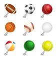 sports ball pointers push pin set vector image