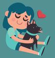Cute Girl Hugging her Dog vector image